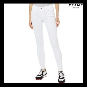 NEW FRAME WHITE HIGH RISE SKINNY JEANS